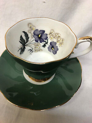 Royal Grafton 9080 Teacup Cup & Saucer Green Teal Outside Purple Flowers Inside