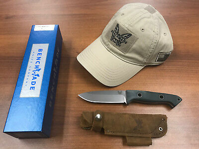 "*New* Benchmade 162 Bushcrafter Fixed 4.43"" S30V Satin Blade w/FREE Benchmad Hat"