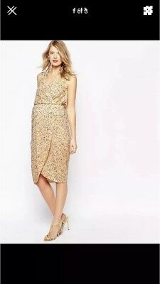 Asos Maternity Gold Sequin Wrap Dress Evening Party Size 10 RRP £75