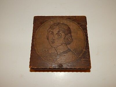 Vintage Antique Victorian Lady Flemish Art Pyrography Wood Box