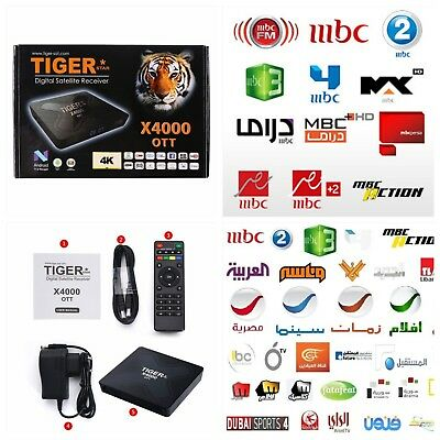 4K X4000 Android Arabic Turkish TV Receiver 4,000 + Channels MBC Sports