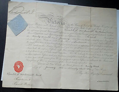 Officers Certificate - Land Forces - Lt. Ronald S. McConnell, dated 23.1.1900