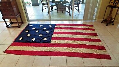 Antique 13 Star Flag Made by Coffee Creek Baptist Assoc of So Indiana Circa 1850