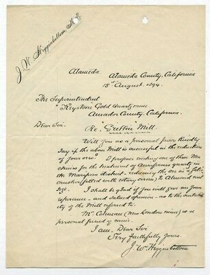 KEYSTONE GOLD n QUARTZ MINE letter 1894 Higginbottom signed GRIFFIN MILL Ore