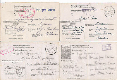 GERMANY ITALY FRANCE 1940's WWII PRISONER OF WAR POSTCARDS STALAG TO IDENTIFY