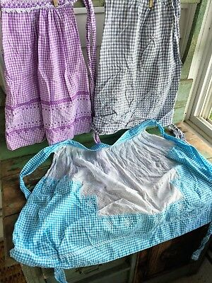 Vintage Lot 3 half Style Aprons Gingham check Embroidery smocked Farmhouse #6