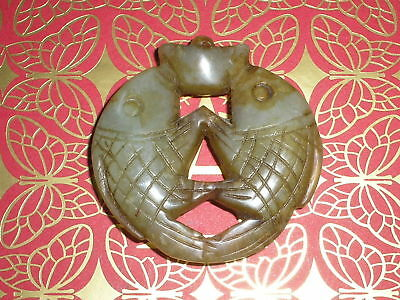 Antique Chinese Carved Nephrite Jade Double Fish Pendant