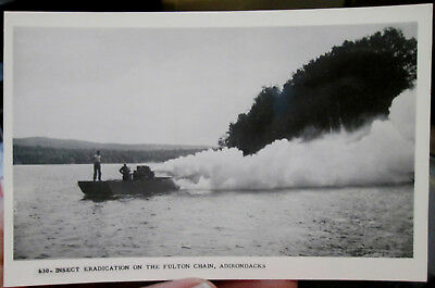 c1950 Insect Eradication on the Fulton Chain Adirondacks NY real photo postcard