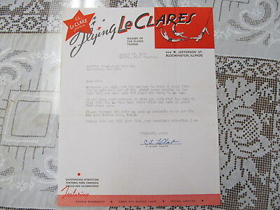 Flying Le Clares Circus Trapeze Act Letterhead/autograph