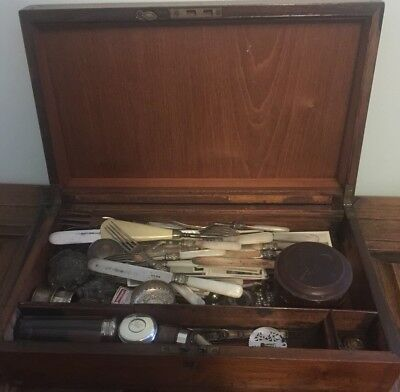 Antique Mahogany Writing Slope With Collectable Contents Some Silver.