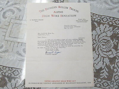 The Blondin Rellim Troupe Circus Wire Act Letterhead/autograph