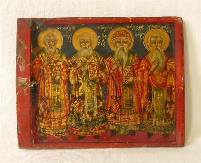 Antique 18Th Century Russian Or Greek Painted Icon Of Various Saints