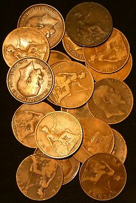 1902 -,1917 Great Britain Penny Lot of 18 coins Edward VII, George V  #701D