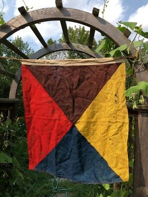 "WONDERFUL ANTIQUE RED, BLUE, GOLD, BROWN SEWN SQUARE NAUTICAL FLAG - 24"" x 23""!"