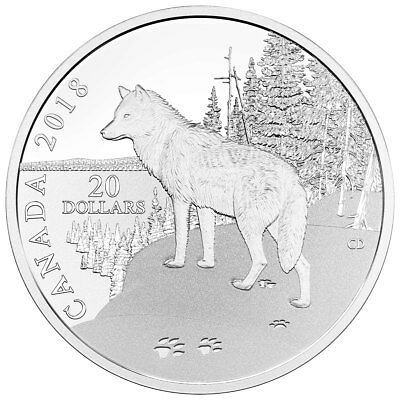 2018 Canada Nature's Impressions - Wolf 1 oz Silver Gem Proof $20 Coin SKU52589