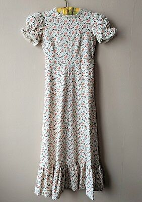 70s vintage girls prairie maxi dress ditzy floral bridesmaid wedding party