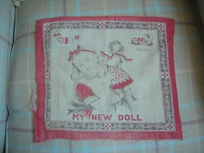 Antique Vintage Childs Handkerchief 'My New Doll'