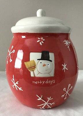 Hallmark Small Holiday Snowman Cookie Jar With Cover
