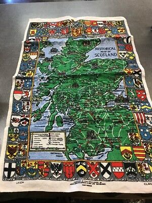 Vintage Historical Map Of Scotland Clan Shield Map 100% Linen New Just Washed