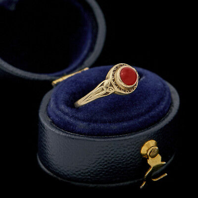 Antique Vintage Art Nouveau 10k Yellow Gold Red Onyx Child Pinky Band Ring Sz 3