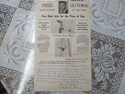 Fred Guthrie Circus Wire Act Letterhead/autograph