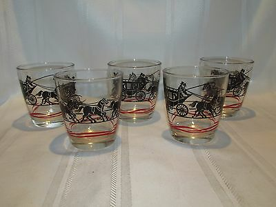 VINTAGE Sour Cream Drinking Glasses Set of 5 - Stagecoach and horses - Black Red