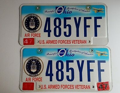Set Ohio Air Force, Armed Forces Veteran, 485Yff License Plates Expired