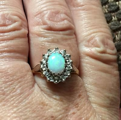 Superb Vintage 18 Carat Gold Opal And Diamond Cluster Ring.