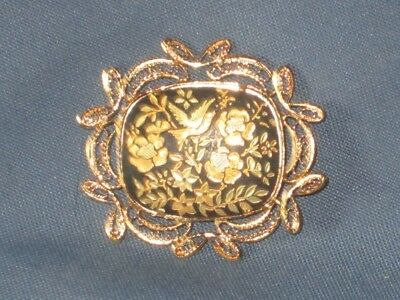 Vintage Gold-Tone Metal Damascene Toledo Enamel Pin Brooch Bird & Flowers