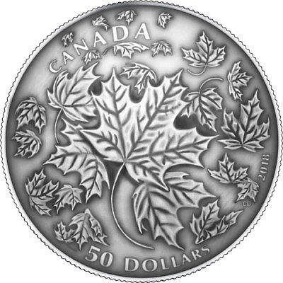 2018'Maple Leaves in Motion' Antique Finish $50 Silver Coin 5oz .9999Fine(18394)