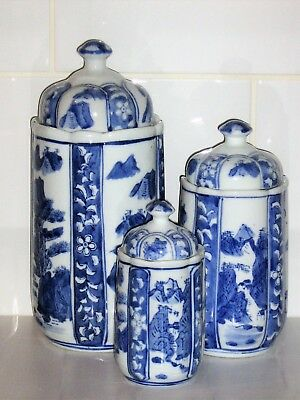 Graduated Set of 3 Blue & White Chinese / Oriental Jars Ornaments - Storage