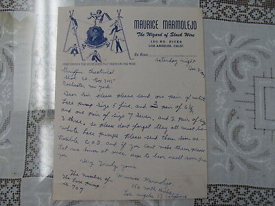 Maurice Marmolejo Circus Wire Act Letterhead / Autograph