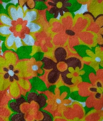 1960's Vintage Terry Cloth Fabric Hippie Flower Power