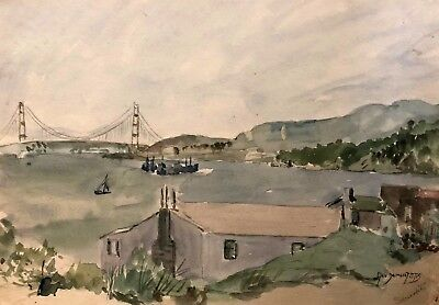 Painting By George Demont Otis Early CA  Art Sausalito Goldengate/Seascape