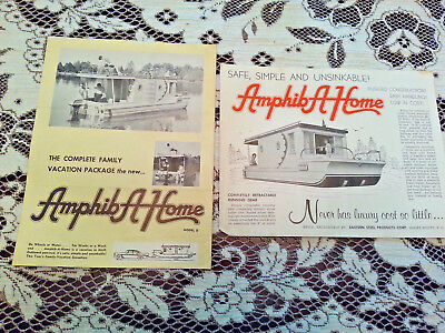 1960-Amphib A Home House Boat Advertising Brochure & Letter