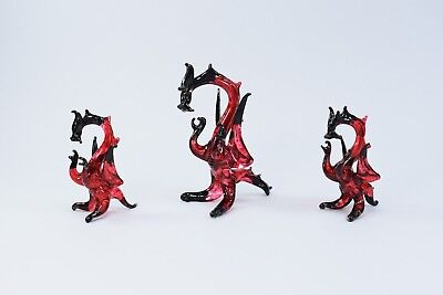 Set Of Dragons Red and Black Figurine of Blown Glass Crystal