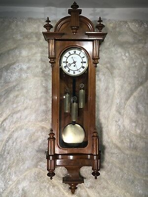 Vtg Antique Germaney 3 Chimes Strikes Wall Clock W 3 Heavy Brass Weights Working