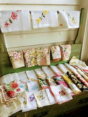 Vintage Lot 46 Handkerchiefs Hankies Floral Embroidery Applique All new With tag