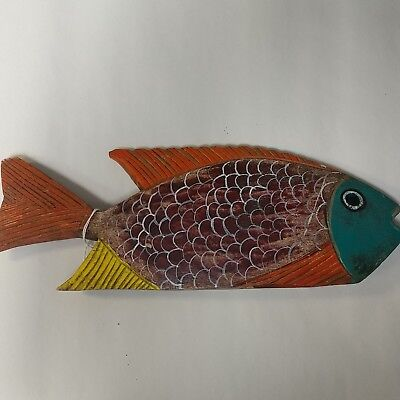 """Hand carved & painted wooden fish 13"""" x 4-3/4"""""""