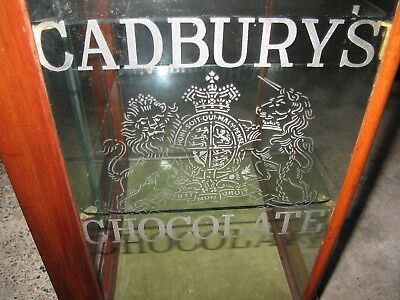 Antique CADBURY CHOCOLATE DISPLAY CABINET Wooden & Etched Glass Sides Countertop
