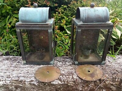 Vintage Pair Copper Porch Lights Lamp Fixtures Sconces Arts Crafts Mission