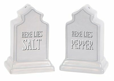 "Ceramic Gravestone ""Here Lies.."" Salt and Pepper Shakers, Halloween Tombstone"