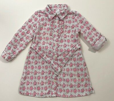 JANIE AND JACK Yorkshire Princess Pink Floral Corduroy Belted Dress Size 3 3T