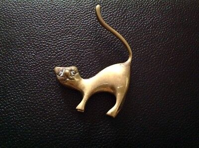 Vintage collectible brass Small kitty cat figure standing head down tail up