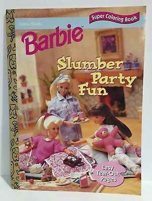 Barbie Slumber Party Fun Coloring Book 1997 Golden Books Unused.