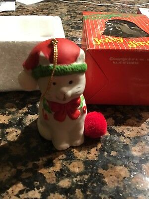 Vintage Jolly Jingles Christmas Bell Ornament With The Box 1986 Hand Painted Cat