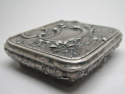 Antique 930 Sterling Silver Box Floral Design Repousse British London Marks