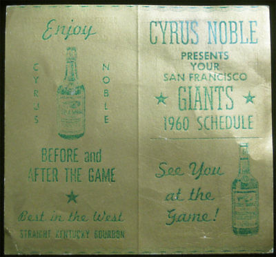 San Francisco Giants Original 1960 Pocket Schedule Candlestick Park  Willie Mays