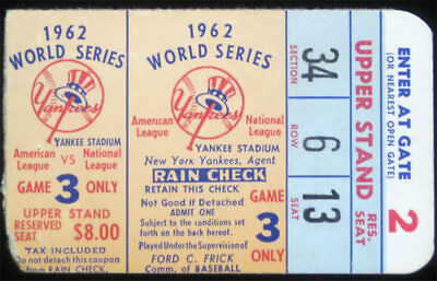 1962 World Series San Francisco Giants v New York Yankees Game 3 Ticket Stub HTF