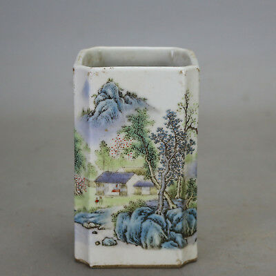 China old porcelain famille rose glaze landscape pattern Quartet brush pot c02